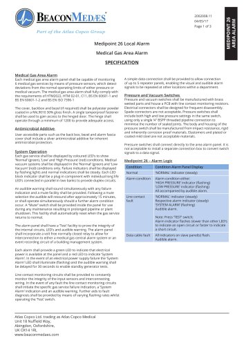 Medipoint 26 Local Alarm HTM/ISO Specification Sheet