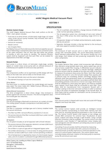 mVAC Magnis Medical Vacuum HTM/ISO Specification Sheet