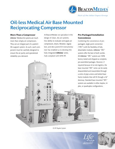 Oil-less Medical Air Base Mounted Reciprocating Compressor