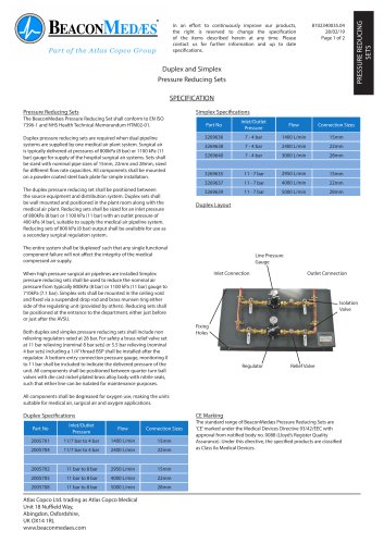 Pressure Reducing Sets Simplex & Duplex HTM/ISO Specification Sheet