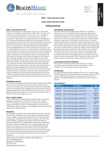 ZSU² Area Valve Service Unit HTM/ISO Specification Sheet