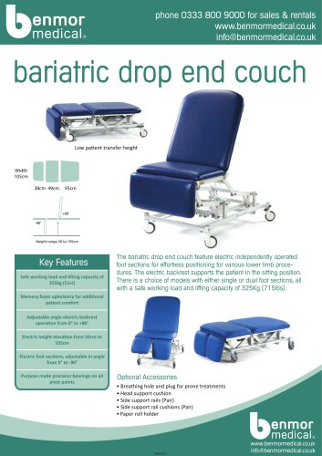 bariatric drop end couch
