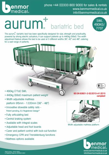 + a LJ ru m® bariatric bed