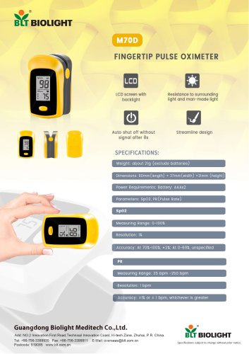 M70D pulse oximeter