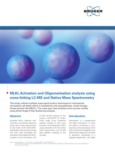MLKL Activation and Oligomerisation analysis using cross-linking LC-MS and Native Mass Spectrometry