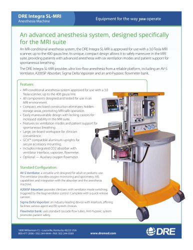 DRE Integra SL-MRI Anesthesia Machine