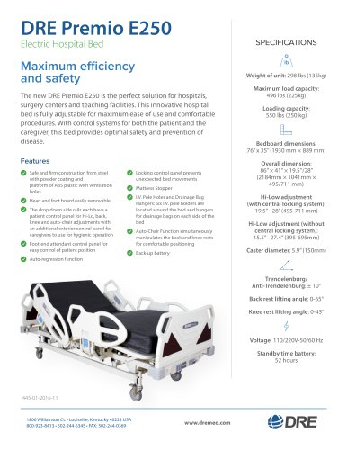 DRE Premio E250 Electric Hospital Bed