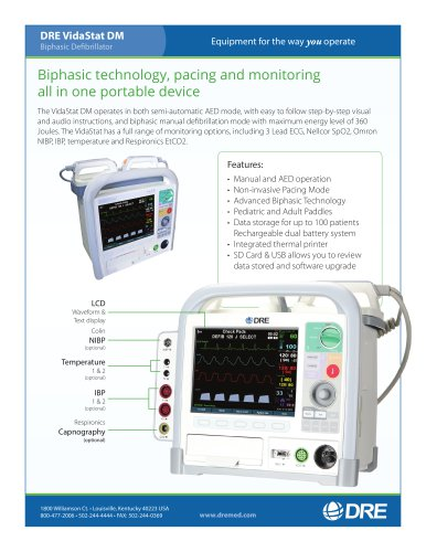 DRE VidaStat DM Biphasic Defibrillator with ECG Monitoring