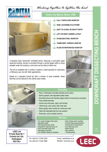 downdraft dissecting bench brochure