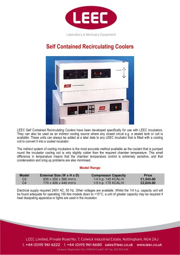 the LEEC Self contained Recirculating Cooler brochure