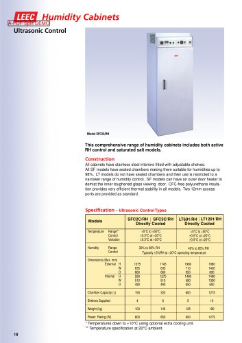 Ultrasonic Humidity Cabinets