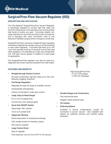 Surgical/Free-Flow Vacuum Regulator (ISO)