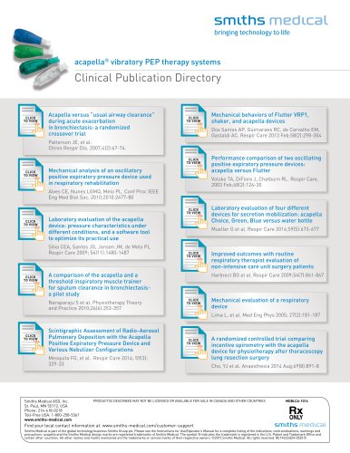 acapella® vibratory PEP therapy systems Clinical Publication Directory