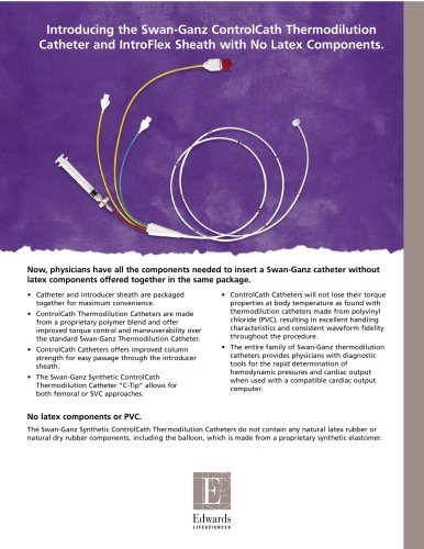 Thermodilution Catheter and IntroFlex Sheath with No Latex Components