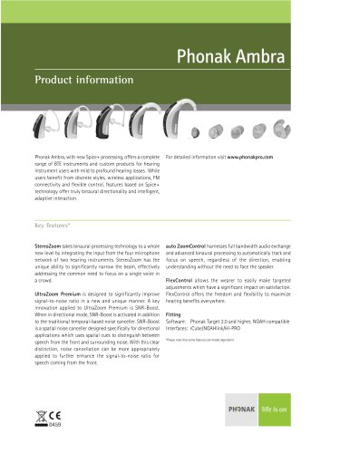 Product Information Phonak Ambra