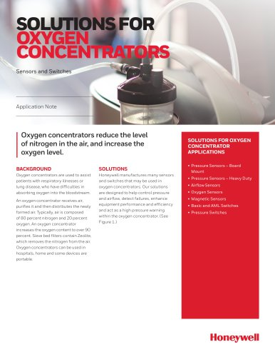 Honeywell Sensing - Medical Solutions for Oxygen Concentrators