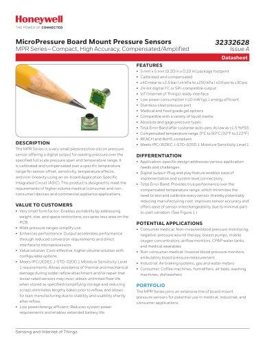 MicroPressure Board Mount Pressure Sensors - MPR Series