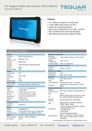 """10"""" RUGGED TABLET WITH ANDROID 