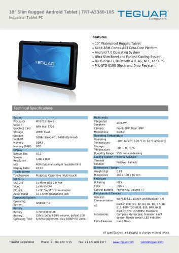 "10"" SLIM RUGGED ANDROID TABLET 