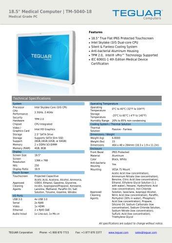 "18.5"" Medical Computer | TM-5040-18"