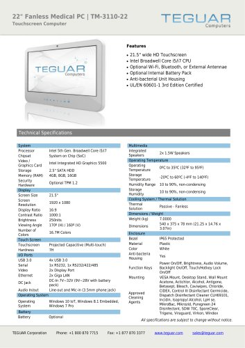 "22"" FANLESS MEDICAL PC 