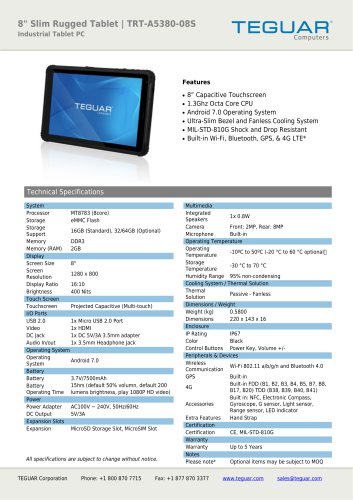 "8"" Slim Rugged Tablet 
