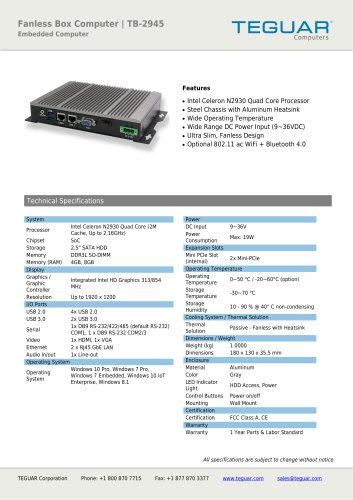 Fanless Box Computer | TB-2945