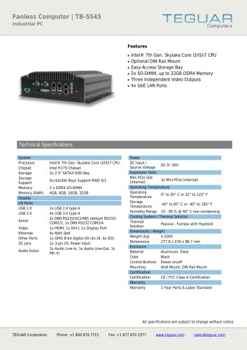 FANLESS COMPUTER | TB-5545