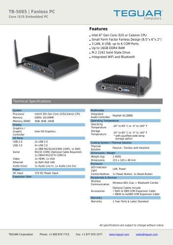 TB-5085 Fanless PC
