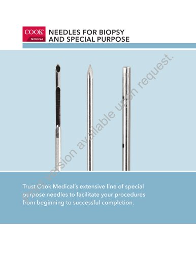 Needles for Biopsy and Special Purpose