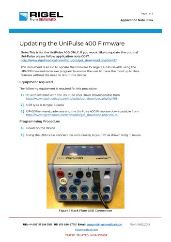 Updating the UniPulse 400 Firmware