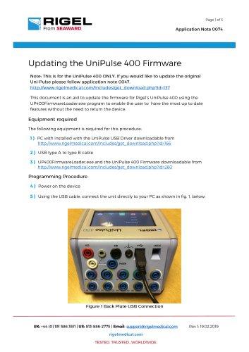 Updating the UniPulse 400 Firmware
