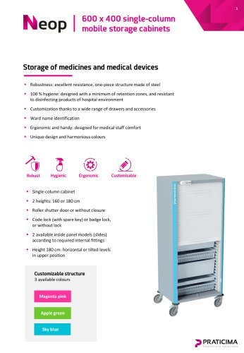600 x 400 Neop mobile storage cabinet
