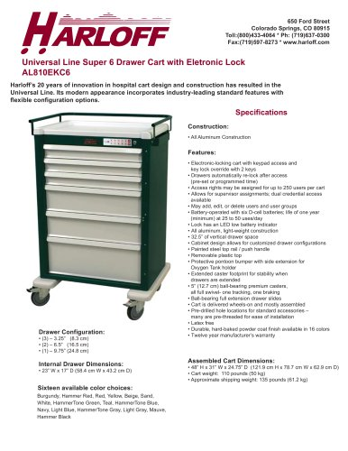AL810EKC6 – ALUMINUM ANESTHESIA/TREATMENT CART