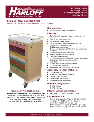 M3030B9-PED – PEDIATRIC CART