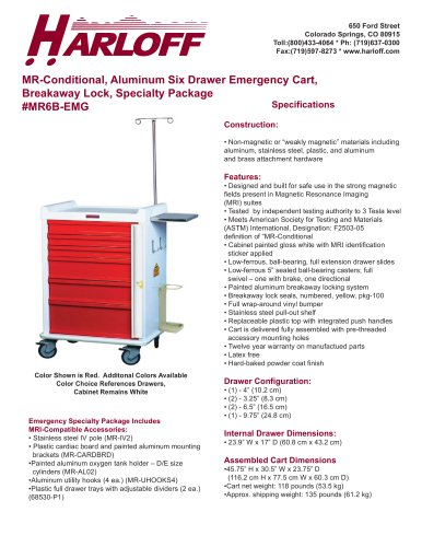 MR6B-EMG – ALUMINUM MR-CONDITIONAL EMERGENCY CART