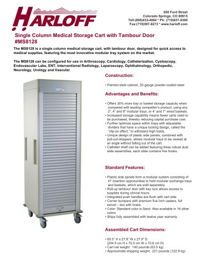 MS8128 – SINGLE COLUMN MEDICAL STORAGE CART