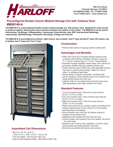MS8140-A – DOUBLE COLUMN MEDICAL STORAGE CART