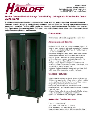 MS8140DR – DOUBLE COLUMN MEDICAL STORAGE CART