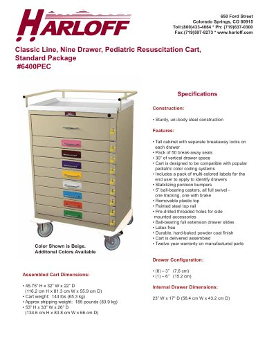 PEDIATRIC RESUSCITATION CART, PEDIATRIC CODE CART