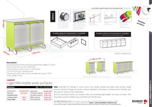 Mobile work surfaces with curtain