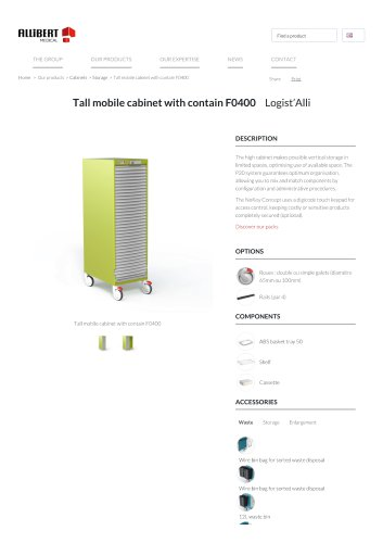 Tall mobile cabinet with contain F0400