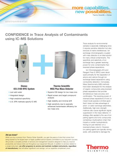 CONFIDENCE in Trace Analysis of Contaminants using IC-MS Solutions