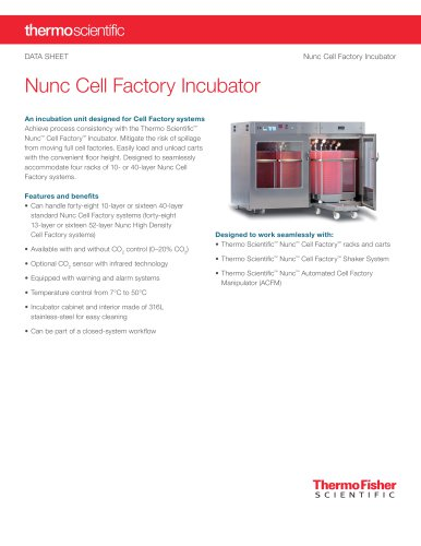 Data Sheet: Nunc Cell Factory Incubator