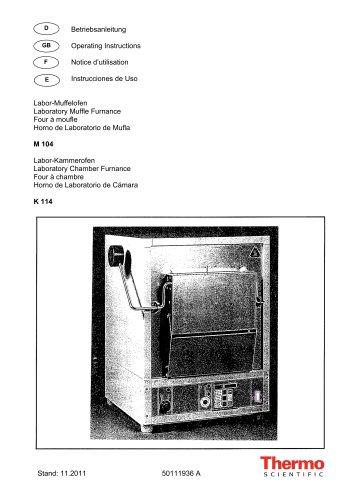 Laboratory Muffle Furnace M104 and Chamber Furnace K114