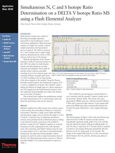 Simultaneous N, C and S Isotope Ratio Determination on a DELTA V Isotope Ratio MS using a Flash Elemental Analyzer