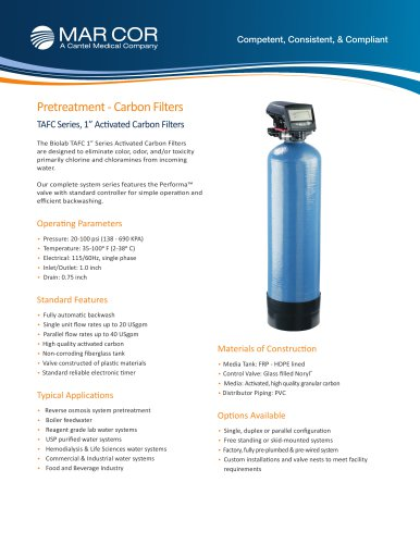 "1"" Carbon Filter Systems 4.5 to 20 USPGM"