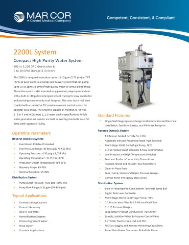 2200 L Compact High Purity Water System
