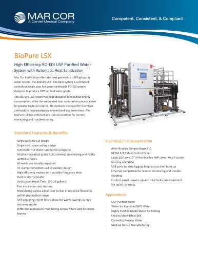 BioPure LSX High Efficiency USP Water System