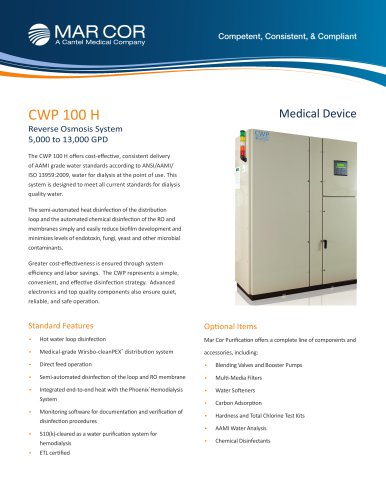 CWP 100 RO System w/ Hot Water Loop Disinfection